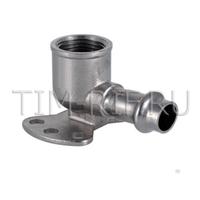 Пресс-угольник из нержавеющей стали ДУ-15*1/2 внутр. резьба и креплением водорозетка TIM ZTI.554.001504